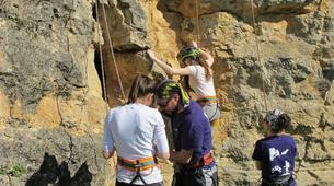 Rock climbing-Turegano-Climbing and abseiling in vertical walls of the Valley of Piron-3