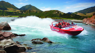 Jet Boating-Hanmer Springs-Jet boat on the Waiau River in Hanmer Springs, New Zealand-1