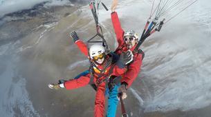 Paragliding-Le Grand-Bornand, Massif des Aravis-Winter tandem paragliding flight over Le Grand-Bornand-2