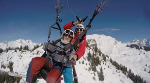 Paragliding-Le Grand-Bornand, Massif des Aravis-Winter tandem paragliding flight over Le Grand-Bornand-3