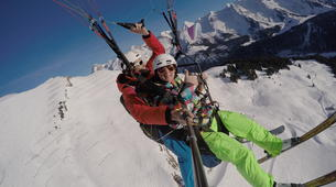 Paragliding-Le Grand-Bornand, Massif des Aravis-Winter tandem paragliding flight over Le Grand-Bornand-4