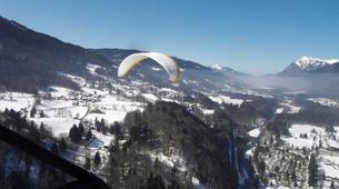 Paragliding-Samoëns, Le Grand Massif-Winter tandem paragliding over Samoens-2