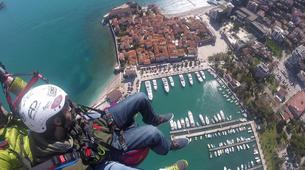 Paragliding-Budva-Tandem paragliding flight over the Old Town of Budva, Montenegro-1