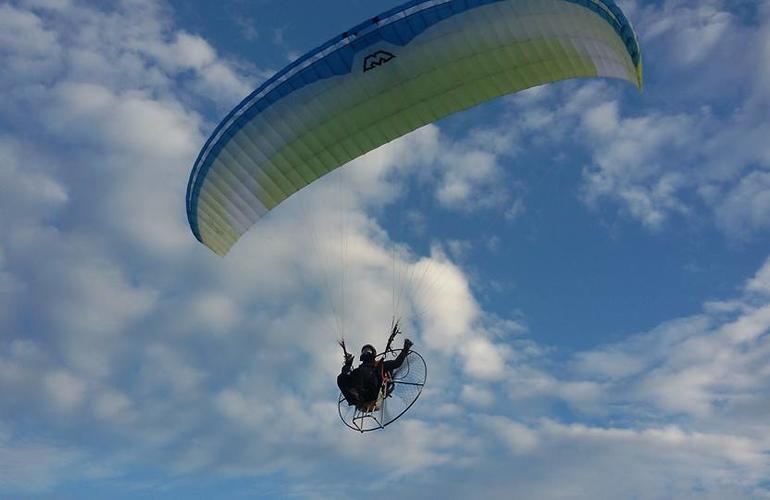 Tandem paramotor flight over Kefalonia