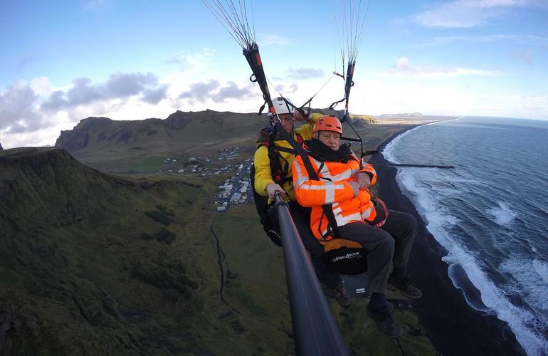 Tandem Paragliding Flight Over Vik I Myrdal Iceland