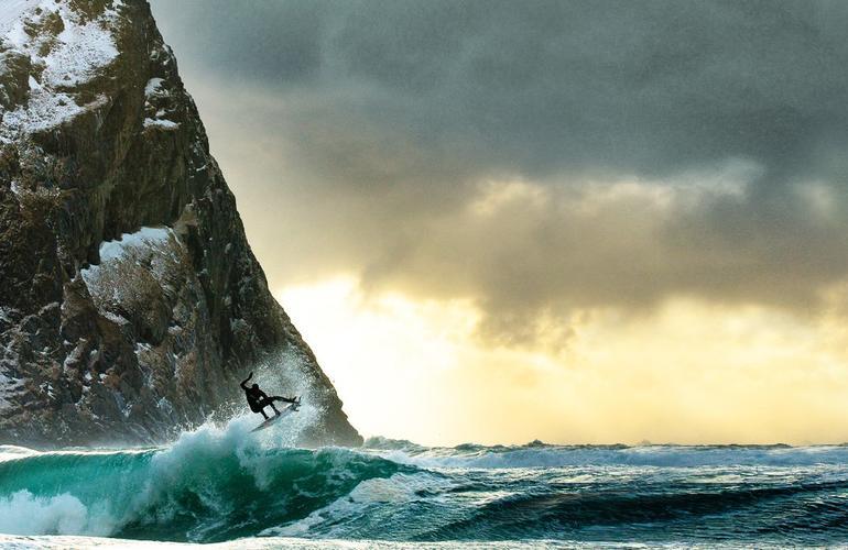Arctic surfing in Unstad Bay, Lofoten