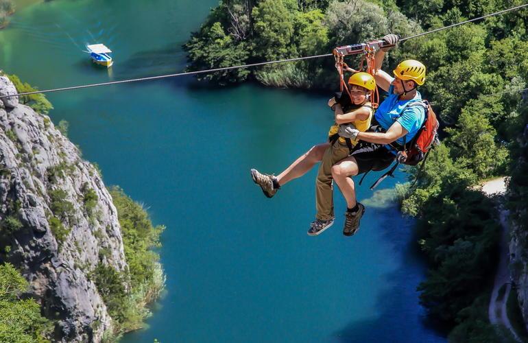 Ziplining over Cetina River, Omis