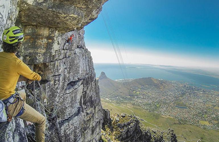 Rock climbing up Table Mountain