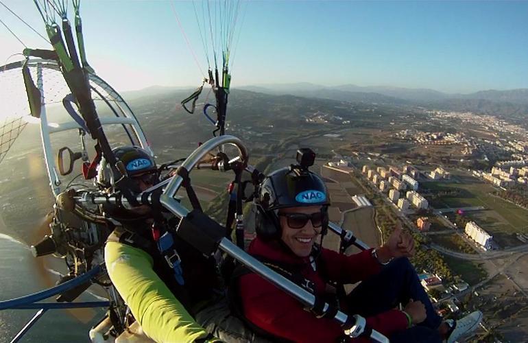 Tandem paramotoring flight near Malaga