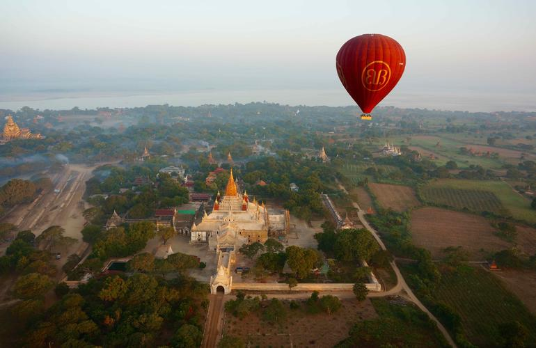 Hot air balloon flight over Bagan
