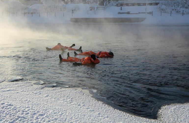 Ice floating in Savonlinna, Finland