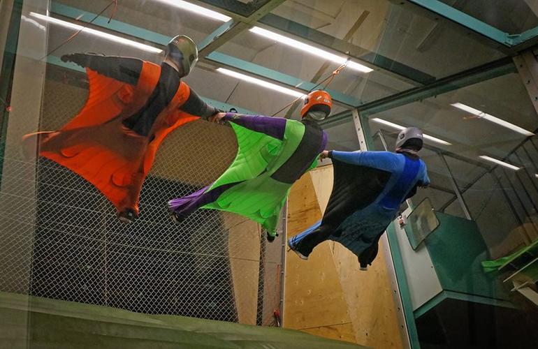 First time Indoor Wingsuit Flight in Stockholm, Sweden