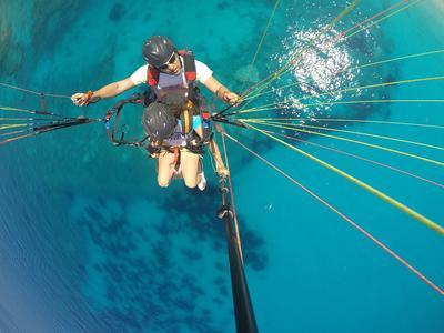 Tandem paragliding flight over Kefalonia