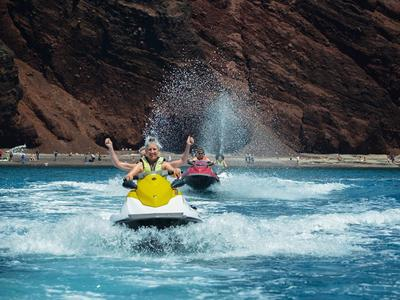 Jet Ski Safari Around Santorini Starting from St. George Beach-Perivolos