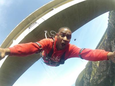 Africa's highest bridge bungee, 216m from Bloukrans Bridge
