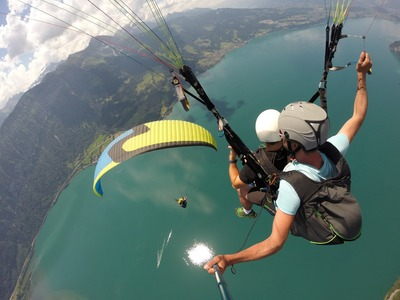 Tandem paragliding flight above Interlaken