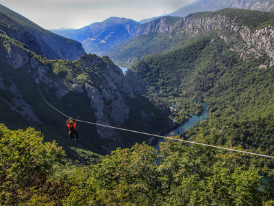 Ziplining over Cetina River, Omis