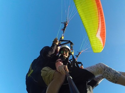 Tandem paragliding flight over Ioanina Lake, Greece