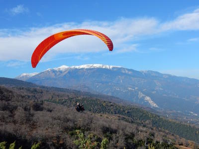 Tandem paragliding flight over Mount Olympus, Greece