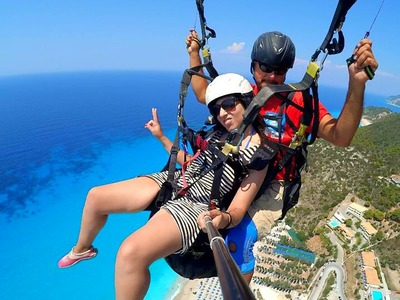 Tandem paragliding flight over Lefkada, Greece