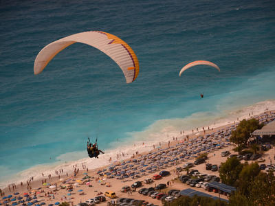 Paragliding flight over Kathisma beach, Lefkada