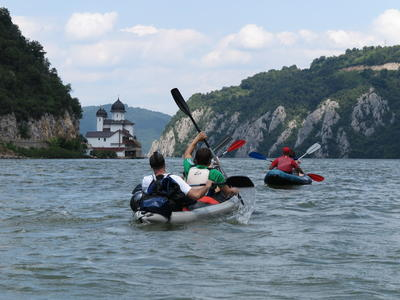 Kayaking excursion in The Iron Gates of the Danube River