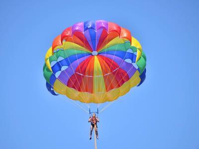 Parasailing flight in Dassia beach, Corfu