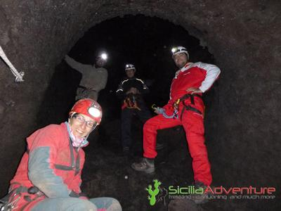 Caving excursion in Grotta dei Tre Livelli on Mount Etna