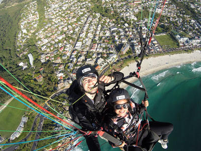 Tandem paragliding near Table Mountain in Cape Town