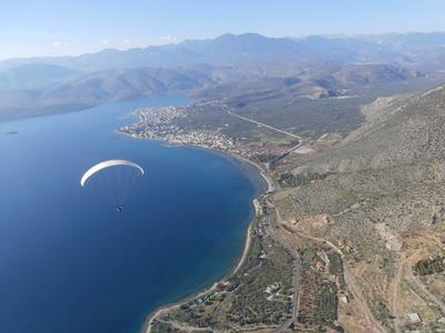 Tandem paragliding flight in Delphi, Greece