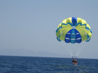Parasailing flight in Santorini