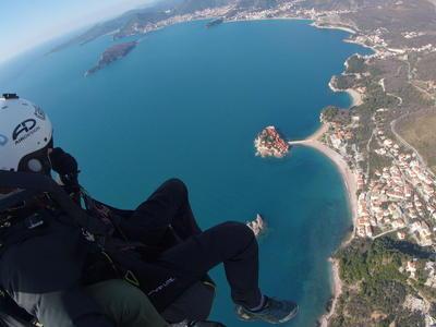 Tandem paragliding flight in St Stefan, Montenegro