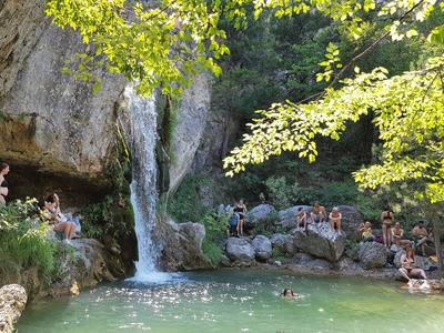 Hike and dive in Orlias Waterfalls, Mount Olympus