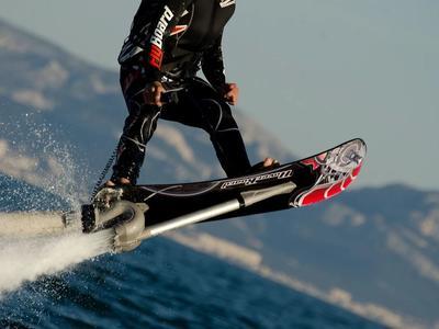 Hoverboarding session in Santorini