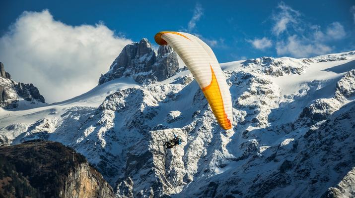 Paragliding-Engelberg-Tandem paragliding flight over Engelberg, Switzerland-2