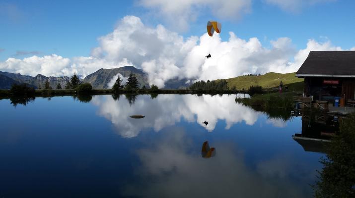 Paragliding-Engelberg-Tandem paragliding flight over Engelberg, Switzerland-3