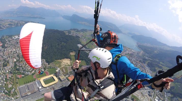 Paragliding-Engelberg-Tandem paragliding flight over Engelberg, Switzerland-6